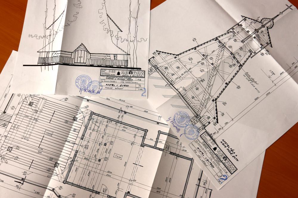 Projektová dokumentace, která byla použita při opravě kostela v roce 2012