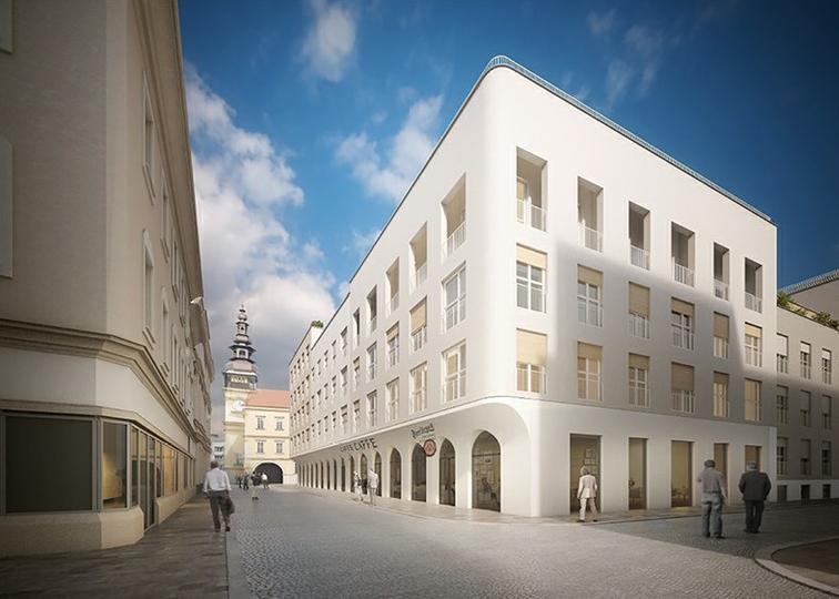 Vizualizace (Znamení čtyř architekti) nového domu v místech, kde bývaly lauby