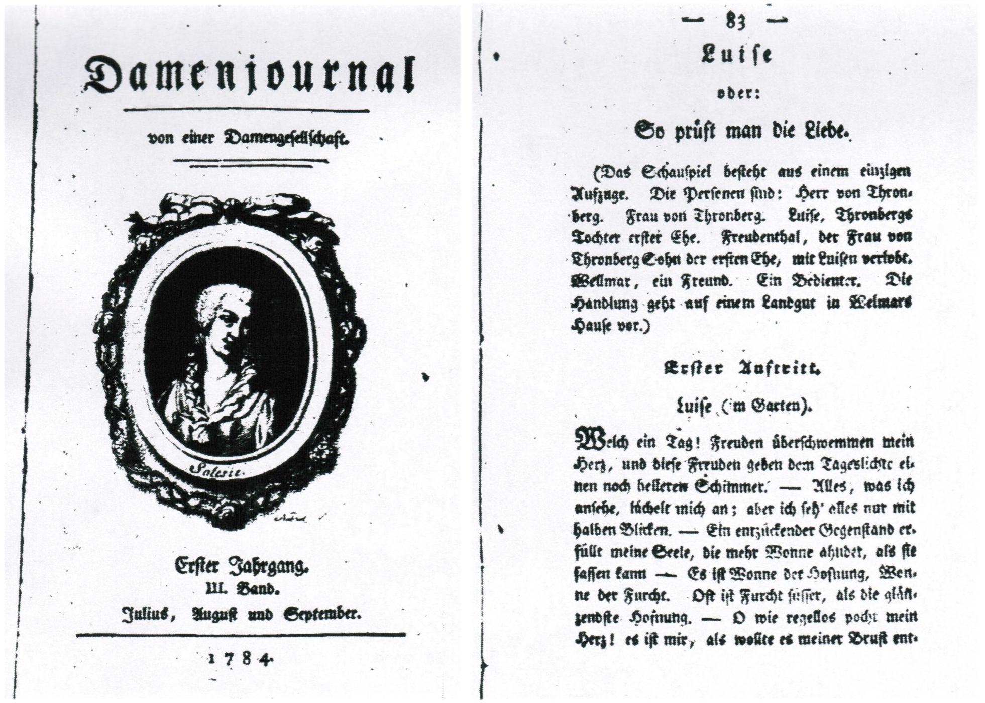 Titulní strana časopisu Damenjournal (v levé části obrázku), kde hra Luisa aneb Jak se zkouší láska vyšla