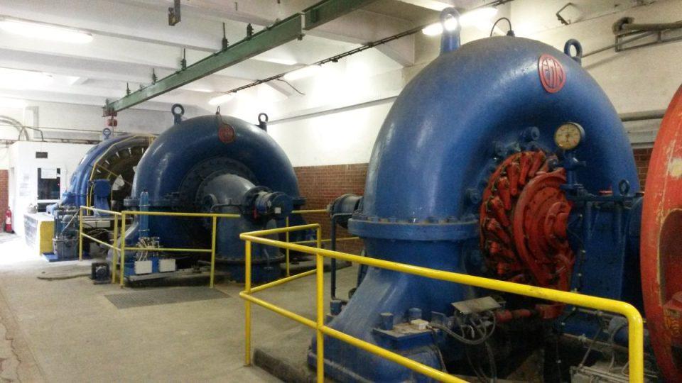 Dvě francisovy turbíny z roku 1927 v areálu papírny