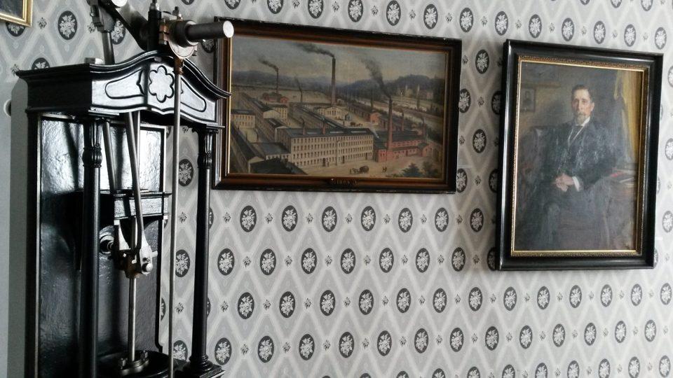 Portrét a vyobrazení továrny Hückelů - novojičínské muzeum