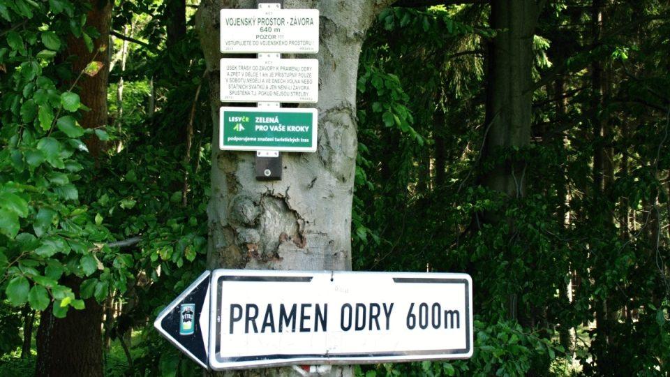 Při vstupu k prameni Odry je nutné i teď dodržovat pravidla režimu ve VVP Libavá