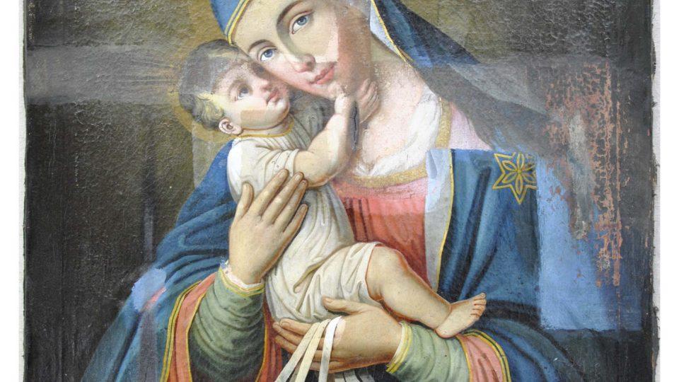 Přemalovaný obraz Panny Marie Karmelské od novojičínského malíře Antona Bergera