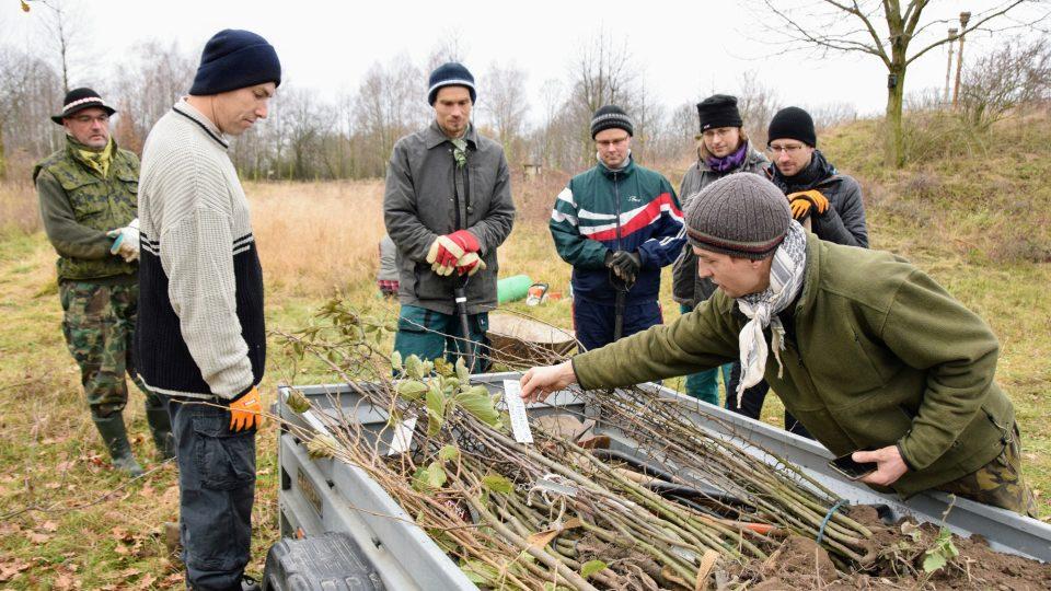 Petr Libosvár (skloněný nad vozíkem) vybírá správné odrůdy ovocných stromků