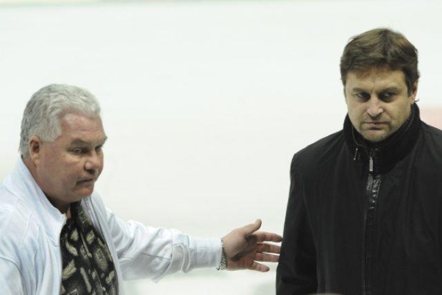 Prezident vítkovického klubu František Černík a generální manažer pražské Sparty Petr Bříza