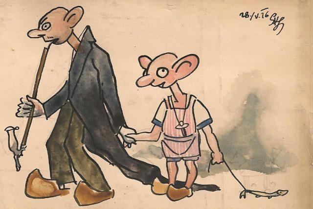 Kresba Josefa Skupy z 28. 5. 1926 - jedna z prvních kreseb Hurvínka a Spejbla