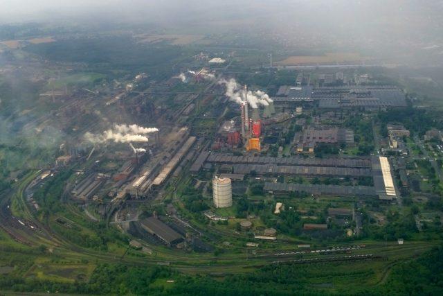Letecký pohled na areál společnost ArcelorMittal Ostrava (někdejší NHKG)