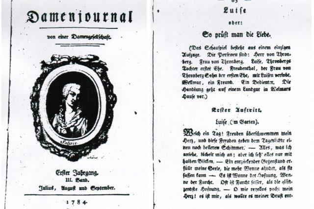 Titulní strana časopisu Damenjournal  (v levé části obrázku),  kde hra Luisa aneb Jak se zkouší láska vyšla  | foto:  Zámek Kunín,  Muzeum Novojičínska