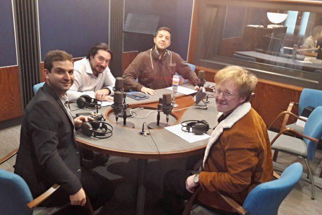 Improvizační divadlo Tři tygři v rozhlasovém studiu | foto: František Tichý,  Český rozhlas