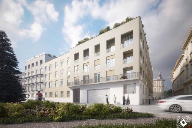 Vizualizace (Znamení čtyř architekti) nového domu v místech, kde je dnes parkoviště
