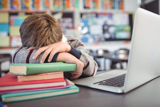 Školák je unavený z domácí výuky